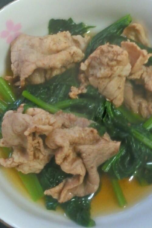豚肉と小松菜の煮びたし