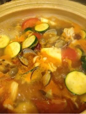 夏野菜とアサリと豆腐のヘルシーチゲ