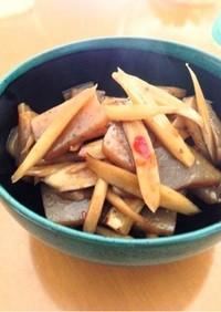 ごぼうとこんにゃくのピリ辛豆板醤炒め