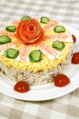 お祝いに♪ちらし寿司ケーキ