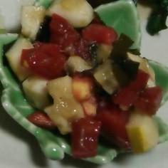 トマトとワカメときゅうりの出汁酢の物