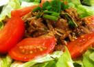 牛薄切り肉ときのこの甘辛サラダ