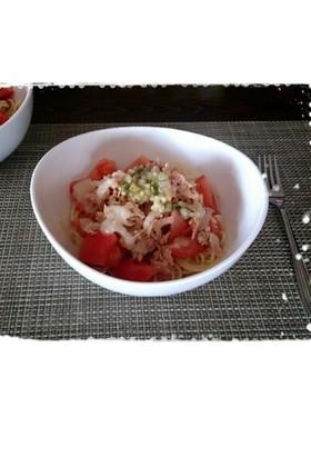 簡単!トマトとササミの塩糀冷製パスタ♡