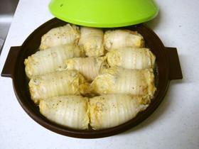 残り物野菜と豆腐入り!レンジでロール白菜