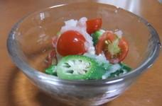 オクラとミニトマトの塩麹おろし酢和え