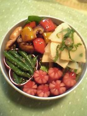 お弁当:竹の子の梅煮・オオバ和え