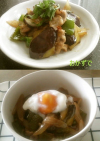 お茄子の肉味噌丼