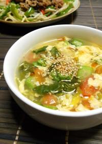青梗菜とトマトの中華風スープ