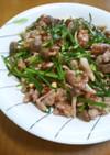 花ニラ(ニラの芽)と豚の中華炒め
