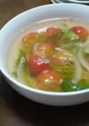 トマトとレタスの中華風スープ