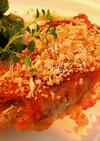 鶏もも肉の香味焼き ガーリックパン粉添え