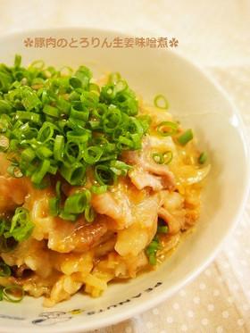10分!レンジで豚肉のとろりん生姜味噌煮