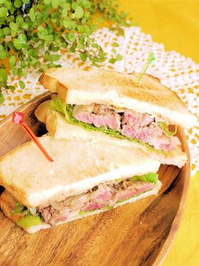 がっつり♡ビーフステーキのサンドイッチ