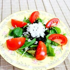 ベビーリーフとトマトのひじきサラダ♪