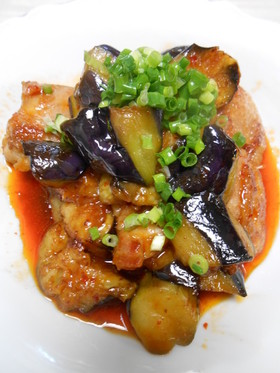 鶏もも肉と茄子のピリ辛炒め