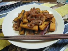 豚バラとさつまいもの炒め煮