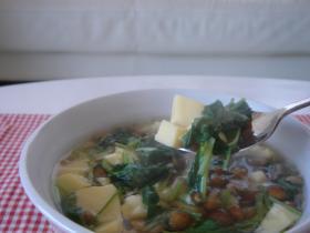 卵豆腐と三つ葉のスープ
