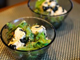 レタスと豆腐の焼き海苔たっぷりサラダ
