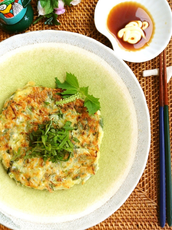 紫蘇と豆腐のもちもちお好み焼き♪