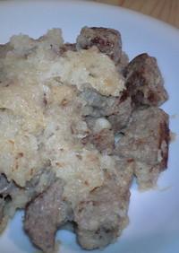 成型肉のサイコロステーキ×大根おろし