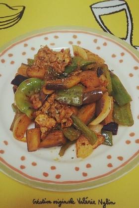簡単♡夏野菜のトマトカレー風炒め