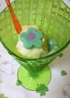 白玉粉でつるんデザート、花飾り