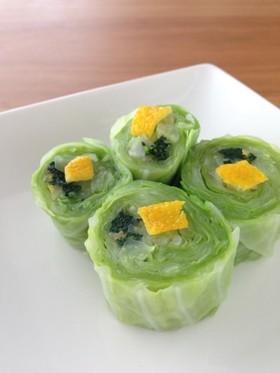 お弁当に!葉物野菜の柚子かつお節巻き