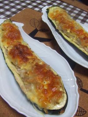 ジューシィ☆ズッキーニの肉詰めチーズ焼き