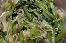 小松菜と舞茸、じゃこ炒め