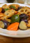 大戸家風*鶏肉と秋野菜の黒酢餡かけ
