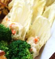ヒヨコ豆ディップサラダチコリ添えの写真