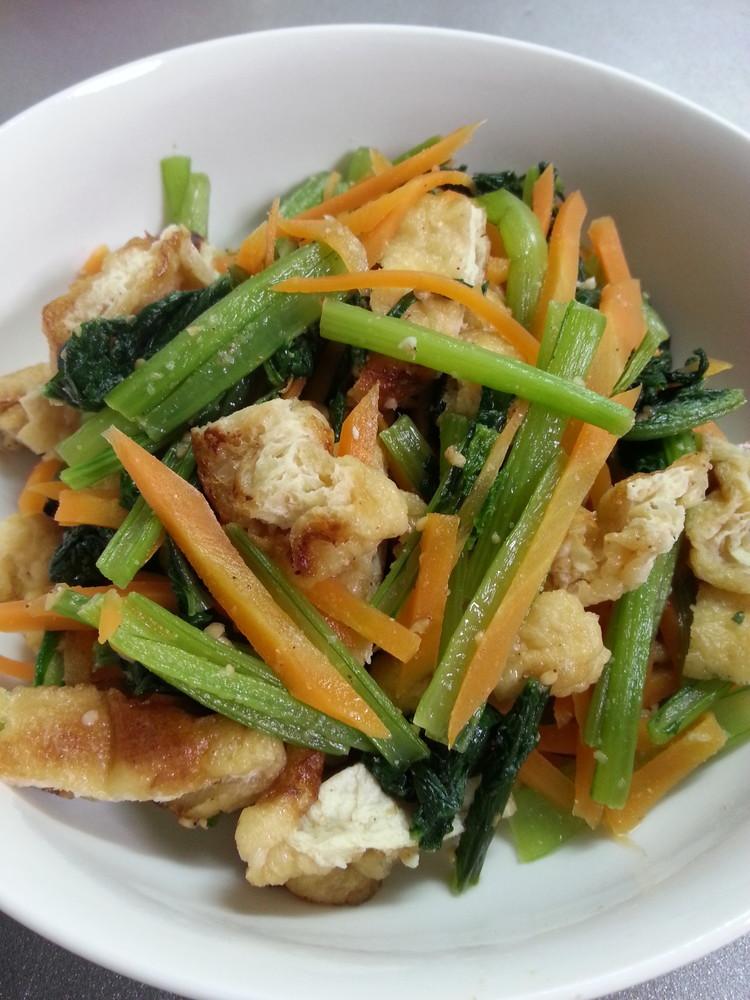 小松菜と油揚げの炒り煮