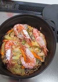 ダッチオーブンで作るパエリア