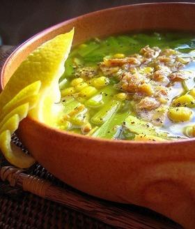 レモンバターコーンのコンソメスープ