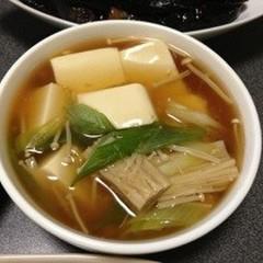 ネギとエノキのあんかけ豆腐