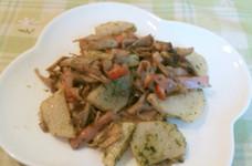 長芋と舞茸の青海苔バターソテー