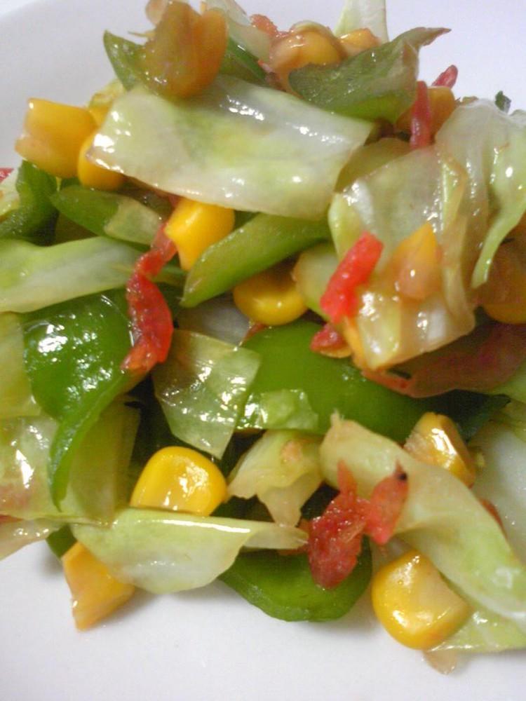 桜えびと野菜の炒め物