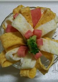 薄焼き卵&ハムの3色のバラ