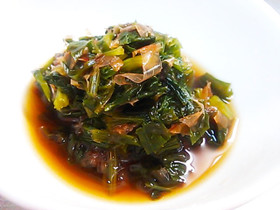 セロリの葉の佃煮風煮びたし