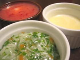 野菜たっぷりにゅうめんとコーンスープ