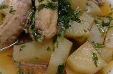 手羽元と大根と水菜の煮物