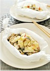 秋鮭とキノコのほんのり甘い林檎チーズ蒸し
