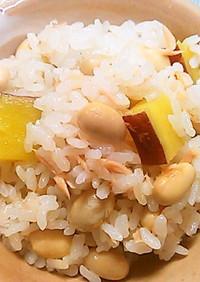 ツナと大豆とさつま芋の炊き込みごはん