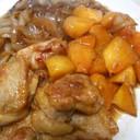 鶏もも肉と柿と玉葱の照り焼き風3点盛