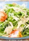 。*水菜と鶏肉の柚子こしょうサラダ*。