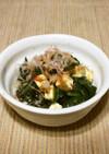 ツルムラサキと海苔の佃煮で和え物