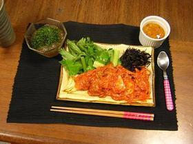キムチと鶏軟骨の辛マヨ炒め