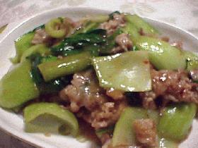 豚肉とチンゲン菜の酸辣炒め
