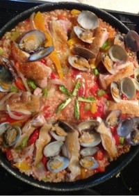 男の料理!!チキンと二枚貝のパエリア