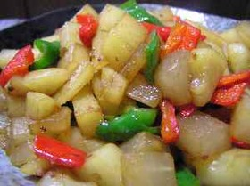 ポテトと大根とパプリカのニンニク醤油